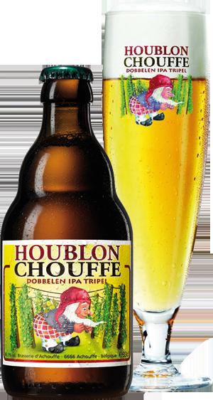 Houblon Chouffe üveg és pohár hátul körbevágva copy