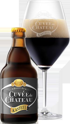Kasteel Cuvée üveg és pohár hátul KÖRBE copy